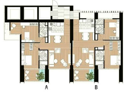 The Met 2 br unit and floor plan A1B1