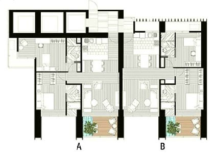 The Met 2 br unit and floor plan A2B2