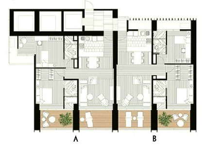 The Met 2 br unit and floor plan A3B3