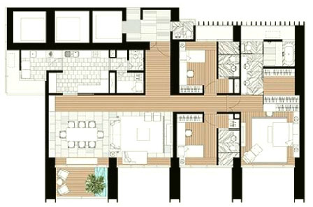 The Met 3 br unit and floor plan C1