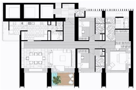 The Met 3 br unit and floor plan C2
