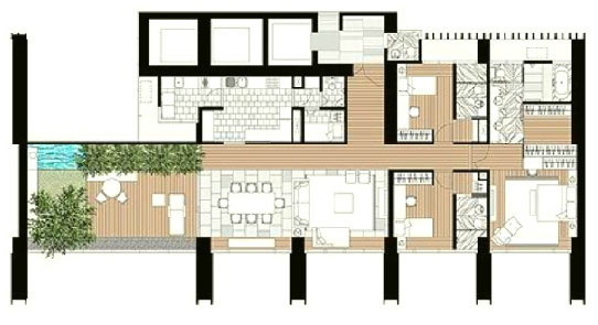 The Met 3 br unit and floor plan C3