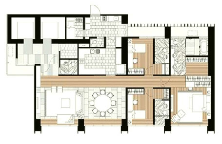 The Met 3 br unit and floor plan D1